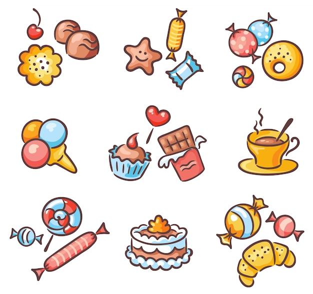 Zestaw różnych słodyczy, ciasteczek i cukierków
