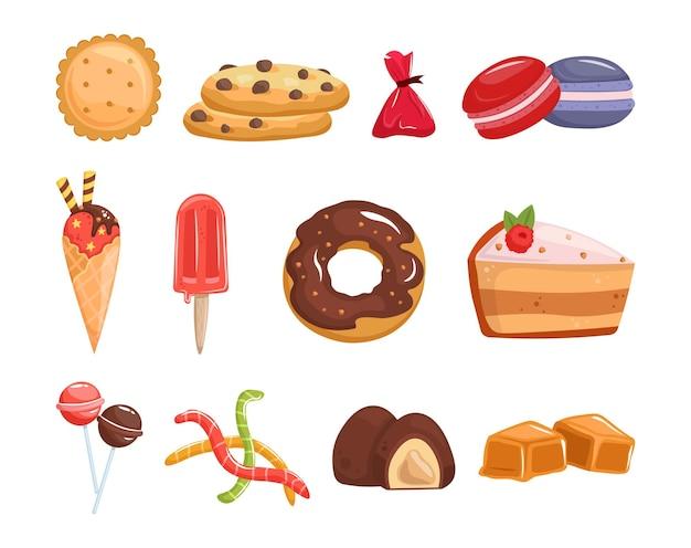 Zestaw różnych słodyczy