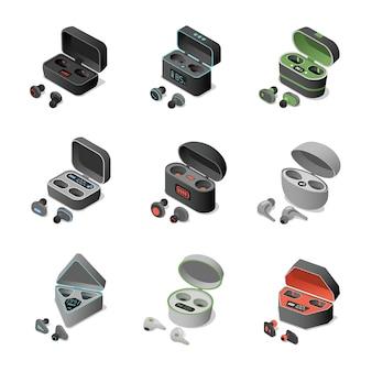 Zestaw różnych słuchawek bezprzewodowych w ładowalnych etui