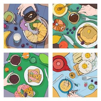 Zestaw różnych śniadań, widok z góry. kwadratowe ilustracje z obiadem. zdrowa, świeża kawa brunch, herbata, naleśniki, kanapki, jajka, rogaliki i owoce. kolorowe ręcznie rysowane wektor zbiory.