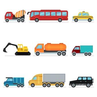 Zestaw różnych środków transportu miejskiego. pojazdy silnikowe dla pasażerów, maszyny przemysłowe i samochody służbowe