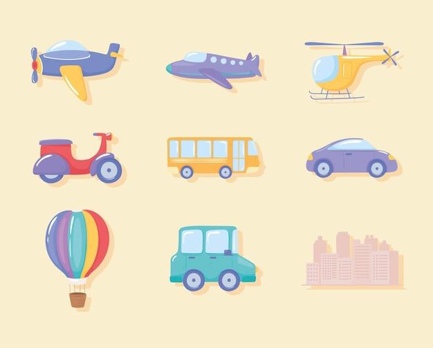 Zestaw różnych środków transportu