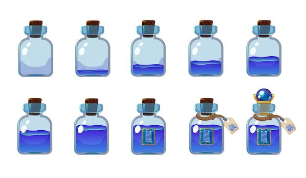 Zestaw różnych stanów butelki z niebieskim eliksirem. ilustracja do interfejsu gry mobilnej.