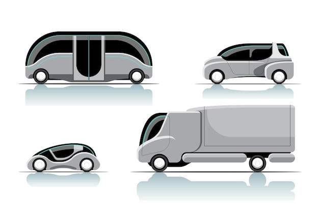 Zestaw różnych stylów nowy samochód hitech innowacji w postaci z kreskówek rysujących płaską ilustrację