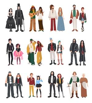 Zestaw różnych subkultur. para raperów, hipsterów, punków, rockerów, hipisów, goth, emo, rekonstruktorów historycznych, metalowców, motocyklistów, rastamanów. dziewczyna i facet w kolekcji ilustracji płaski.