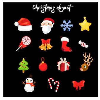 Zestaw różnych świątecznych dekoracji obiektu