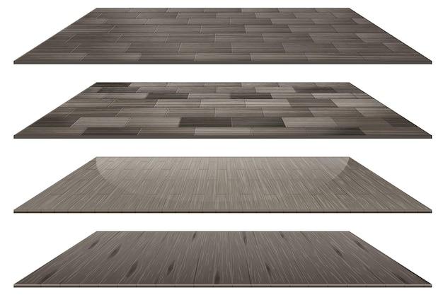 Zestaw różnych szarych drewnianych płytek podłogowych na białym tle