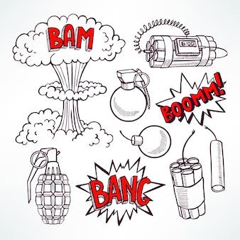 Zestaw różnych szkicowych urządzeń wybuchowych