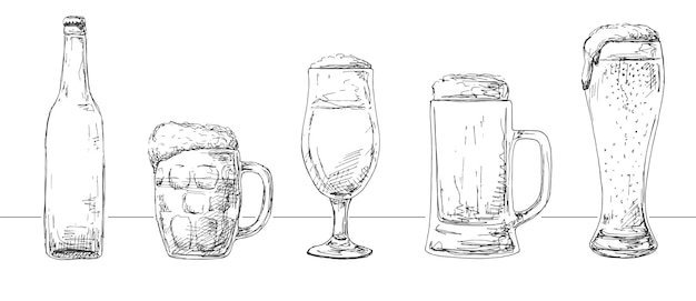Zestaw różnych szklanek z piwem, różnych kufli piwa i butelki. stylu szkicu.
