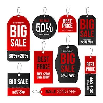 Zestaw różnych tagów sprzedaży