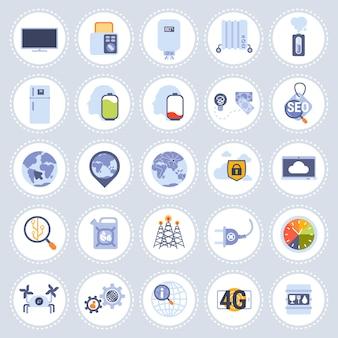 Zestaw różnych technologii ikony kolekcja mieszkanie na białym tle