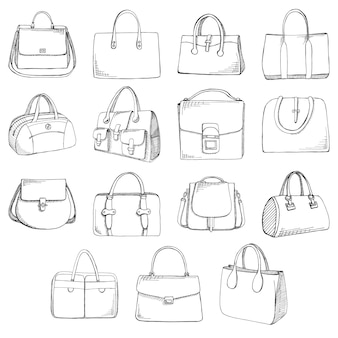 Zestaw różnych toreb, mężczyzn, kobiet i unisex. torby na białym tle. ilustracja wektorowa w stylu szkicu.