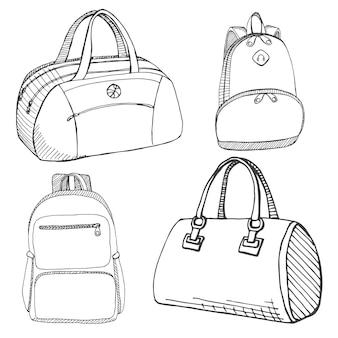 Zestaw różnych toreb, mężczyzn, kobiet i unisex. torby na białym tle.