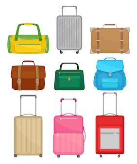 Zestaw różnych toreb. torebka damska, skórzana teczka, plecak, walizki podróżne na kółkach, torba podróżna