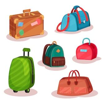 Zestaw różnych toreb. torebki damskie, etui retro z naklejkami, plecak miejski, duża walizka na kółkach