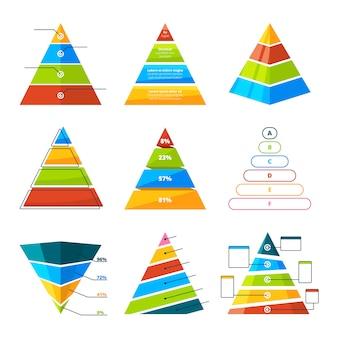 Zestaw różnych trójkątów i piramid z poziomami