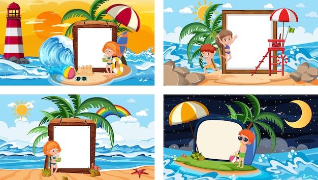 Zestaw różnych tropikalnych scen plażowych z pustym banerem