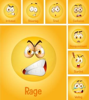 Zestaw różnych twarzy emoji z opisem na żółtym tle