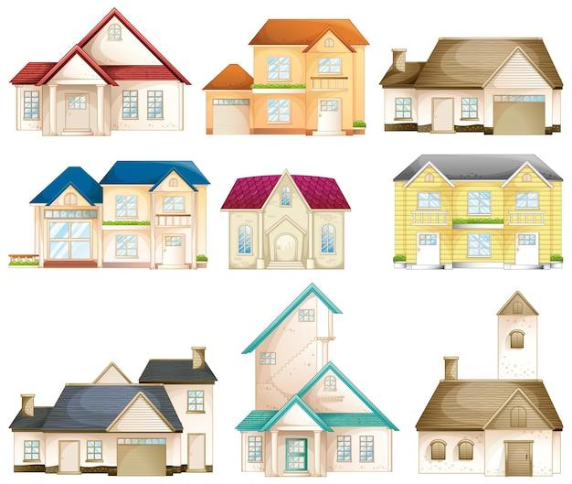 Zestaw różnych typów domów na białym tle