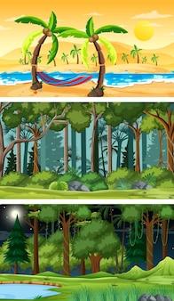 Zestaw różnych typów leśnych scen poziomych