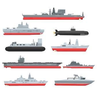 Zestaw różnych typów okrętów bojowych marynarki wojennej, łodzie wojskowe, statki, fregaty, okręty podwodne ilustracje na białym tle