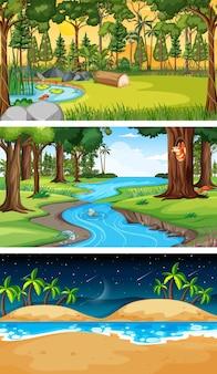 Zestaw różnych typów scen poziomych w lesie