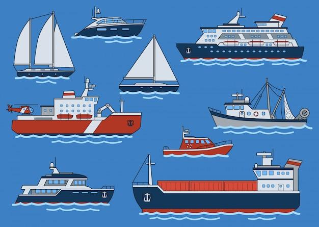 Zestaw różnych typów statków i łodzi. frachtowiec, lodołamacz, krążownik, jacht, trawler, motorówka.