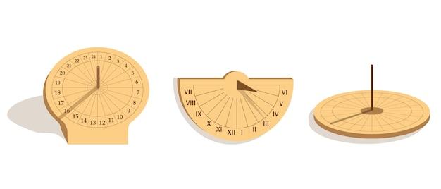 Zestaw różnych typów zegarów słonecznych na białym tle równikowe zegary słoneczne pionowe i poziome