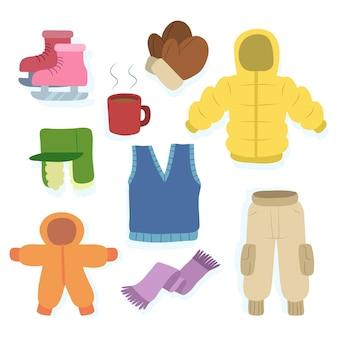 Zestaw różnych ubrań zimowych