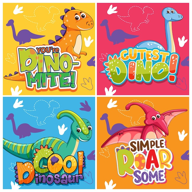 Zestaw różnych uroczych plakatów z dinozaurami z czcionką mowy