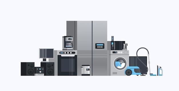 Zestaw różnych urządzeń gospodarstwa domowego kolekcja sprzętu elektrycznego mieszkanie poziomo