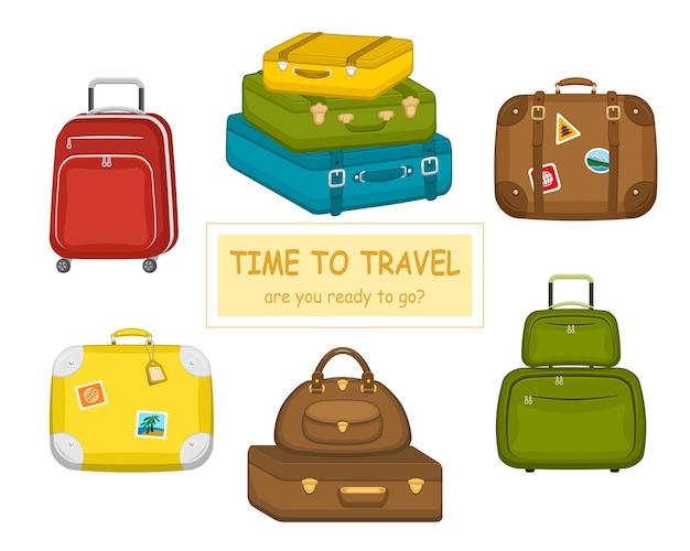 Zestaw różnych walizek podróżnych z naklejkami na białym tle