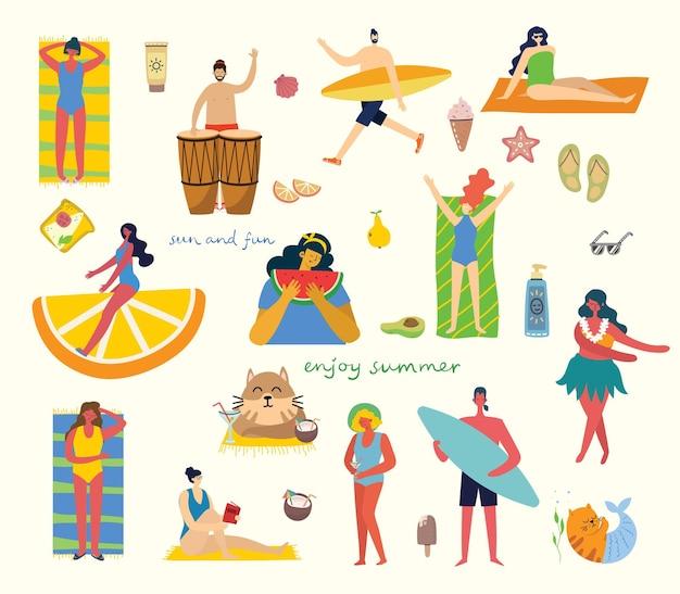 Zestaw różnych wektorów letnich podróży ludzi i ikon w płaskim stye