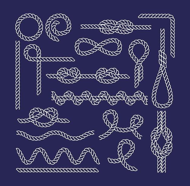Zestaw różnych węzłów i pętli morskich. elementy do tkanin, tapet, tła, projektowanie stron internetowych. lina morska i węzeł żeglarski. elementy do uprawiania turystyki pieszej, pływania, potrzeb domowych. ilustracja wektorowa na białym tle.