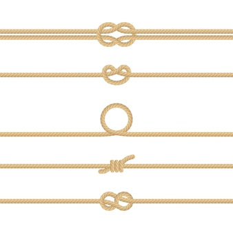 Zestaw różnych węzłów liny żeglarskiej. dekoracja elementy na białym tle.