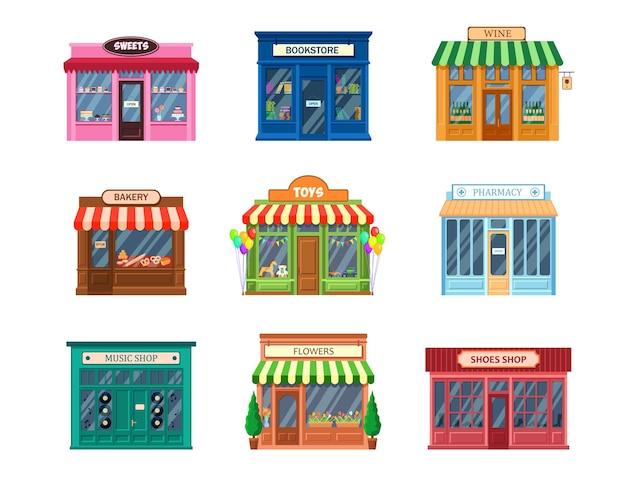 Zestaw różnych witryn sklepowych.