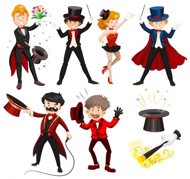 Zestaw różnych wykonawców cyrkowych