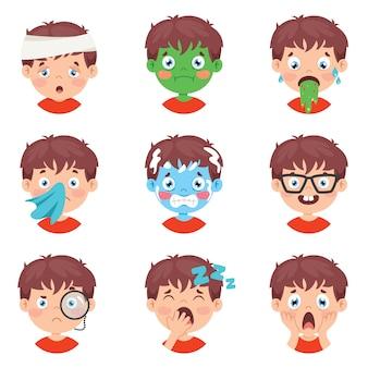 Zestaw różnych wyrażeń dzieci