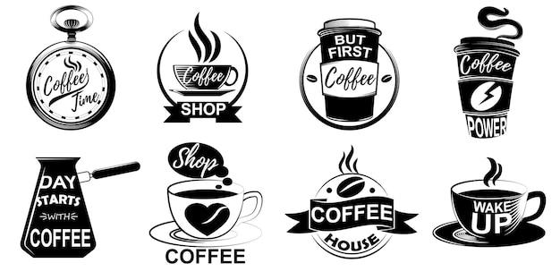 Zestaw różnych wzorów ikon kawy