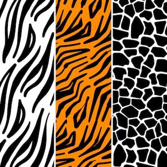Zestaw różnych wzorów wydruku zwierząt