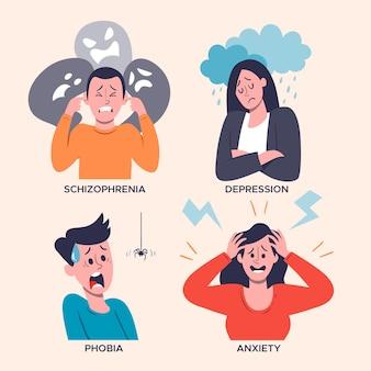 Zestaw różnych zaburzeń psychicznych