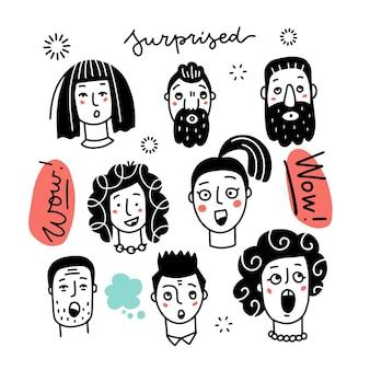Zestaw różnych zaskoczonych kobiet i mężczyzn w różnych grupach wiekowych i etnicznych wyrażających zdumione emocje ręcznie d...