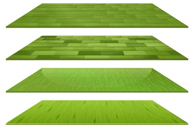 Zestaw różnych zielonych drewnianych płytek podłogowych na białym tle