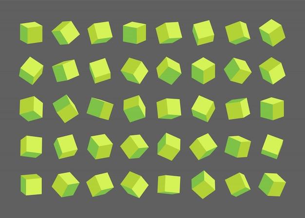 Zestaw różnych zielonych kostek.