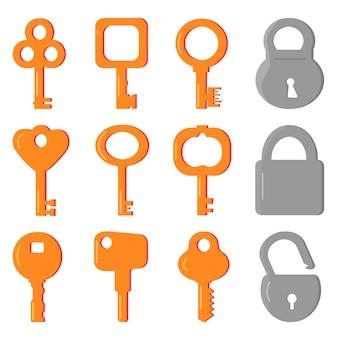 Zestaw różnych żółtych kluczy i szarych zamków. klucz do dziurki od klucza.