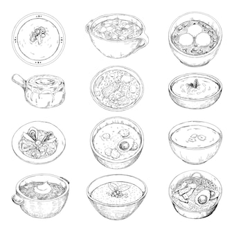 Zestaw różnych zup. ilustracja w stylu szkicu.
