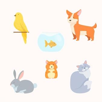 Zestaw różnych zwierząt domowych