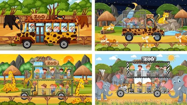 Zestaw różnych zwierząt w scenach safari z dziećmi