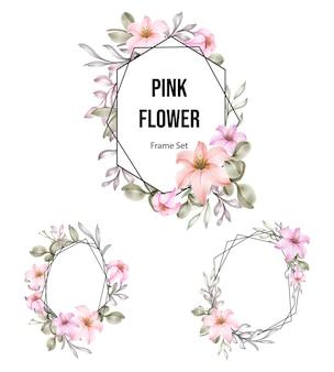 Zestaw różowej akwareli kwiatowej z geometryczną kolekcją ramek