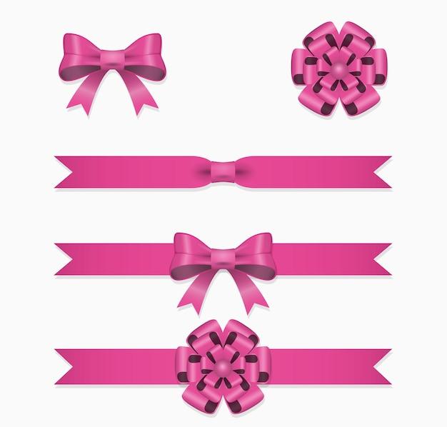 Zestaw różowej wstążki i kokardki do pudełka prezentowego.